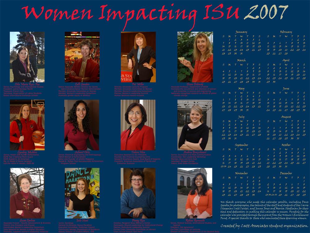 2007 Women Impacting ISU Calendar