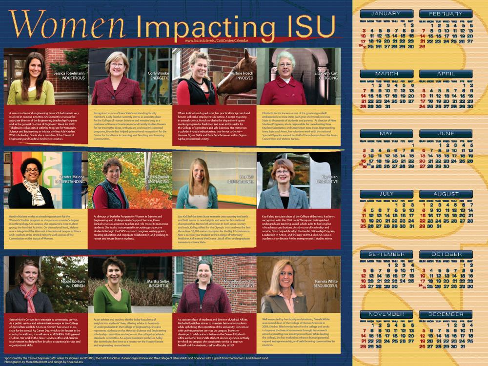 2010 Women Impacting ISU Calendar