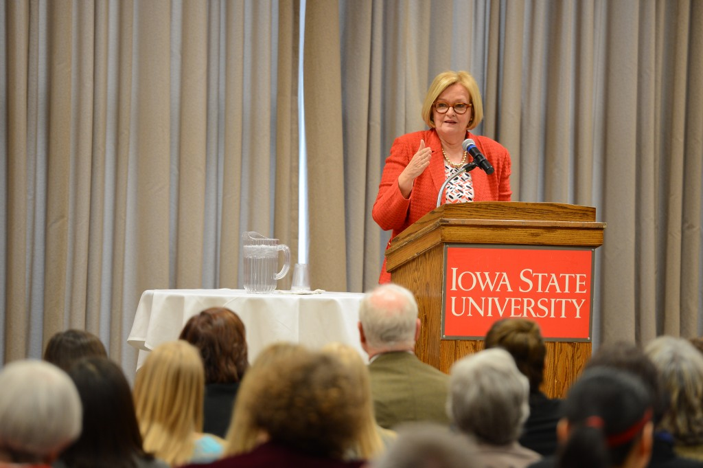Sen. McCaskill offers advice to engage more women in politics at the public lecture.