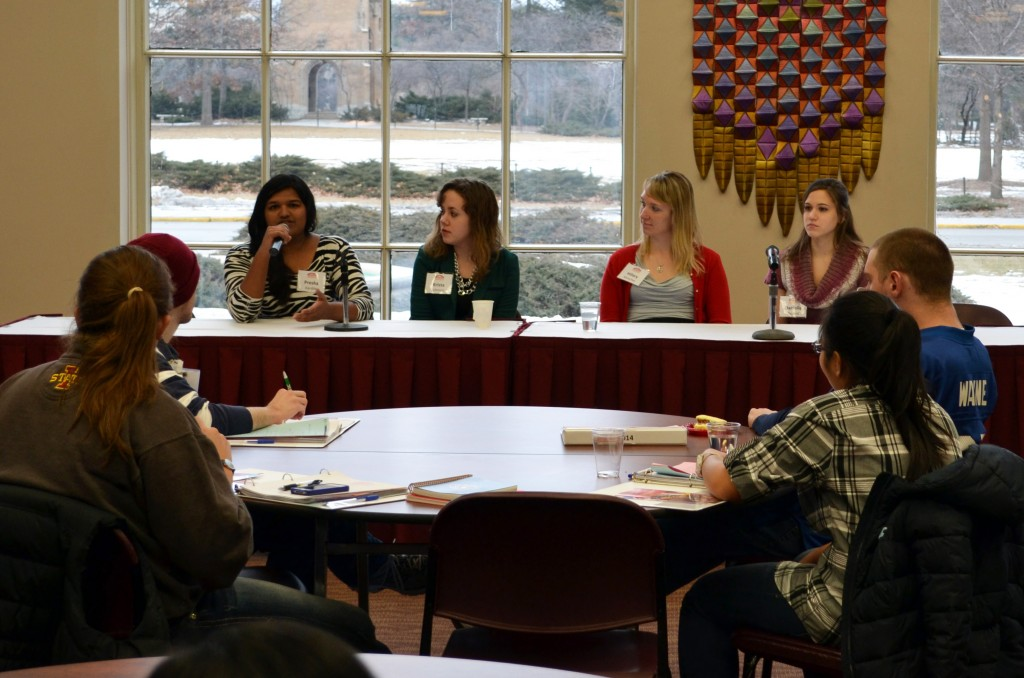 Presha Kardile (back left), a senior in management science and director of student diversity on GSB, is among the student leaders who gave presentations during Campaign College.