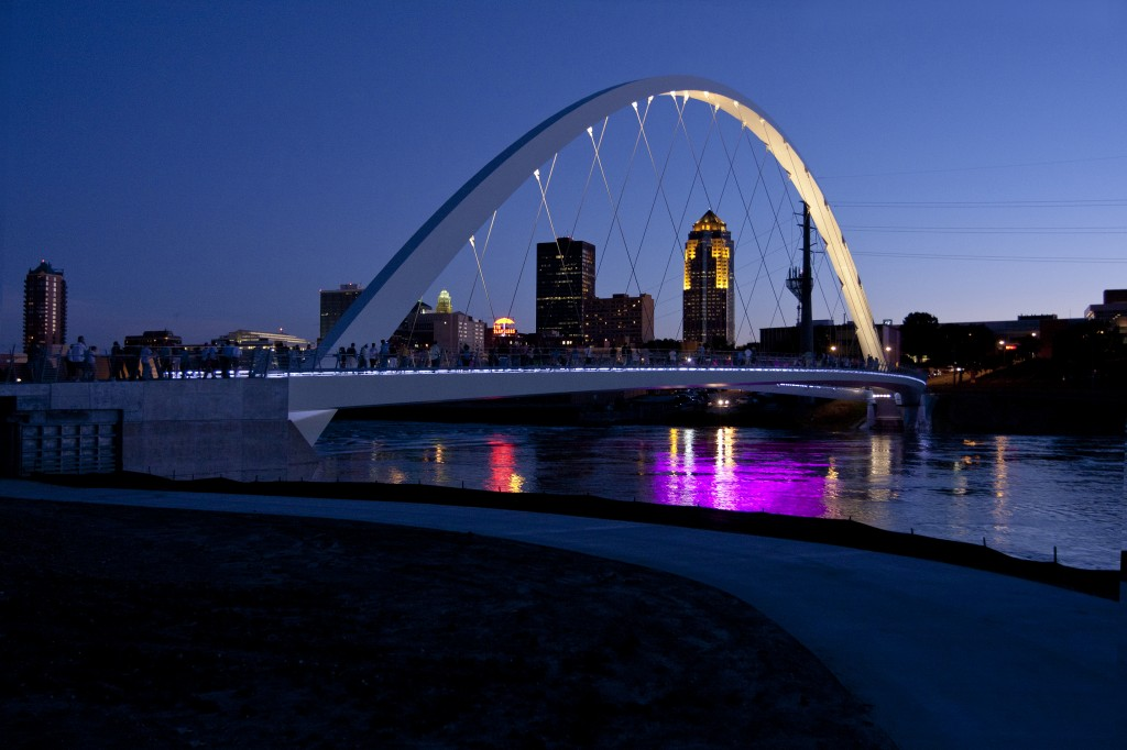 The Iowa Women of Achievement Bridge spans the Des Moines River. (Photo by the Principal Financial Group.)