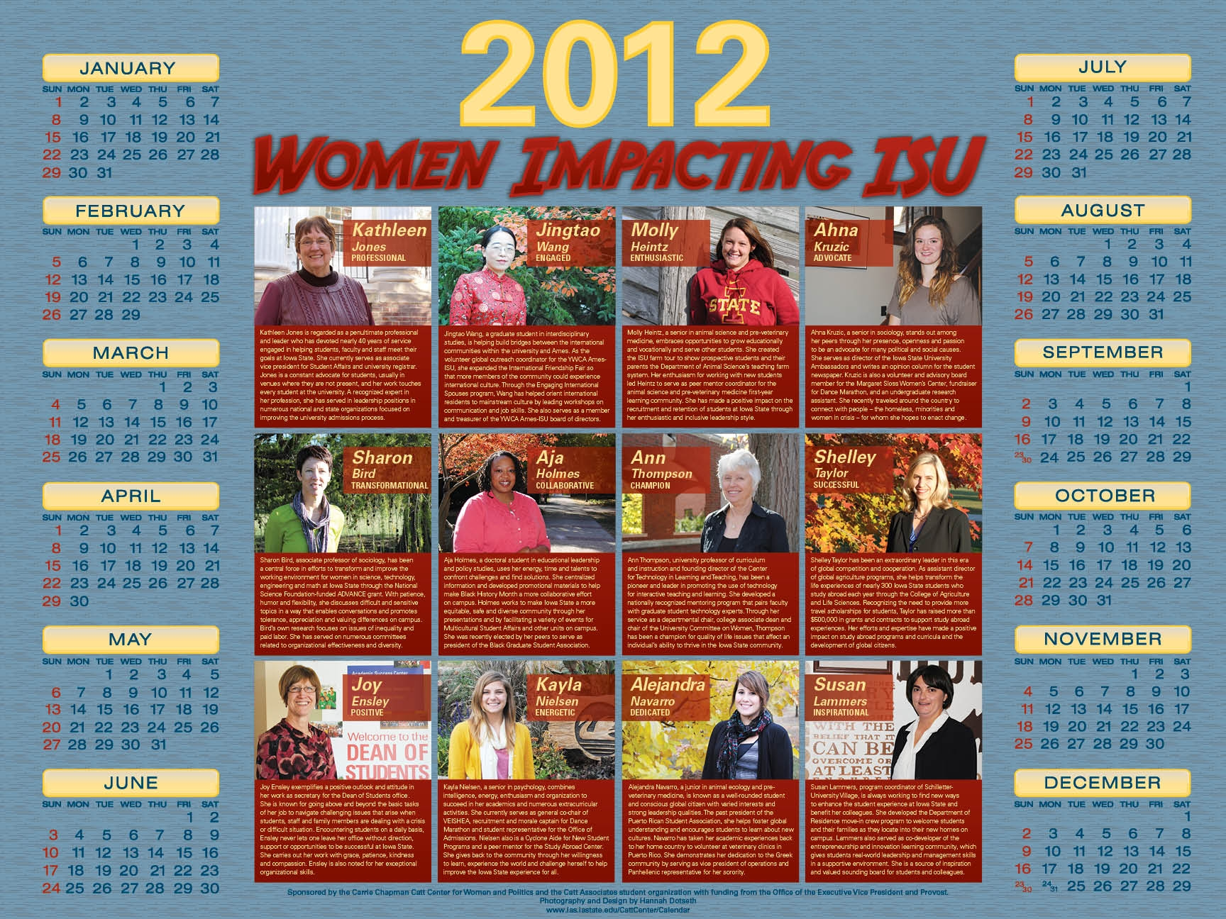 2012 Women Impacting ISU Calendar