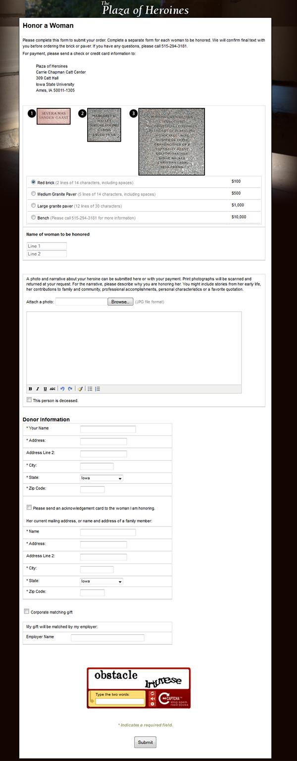 Plaza online order form