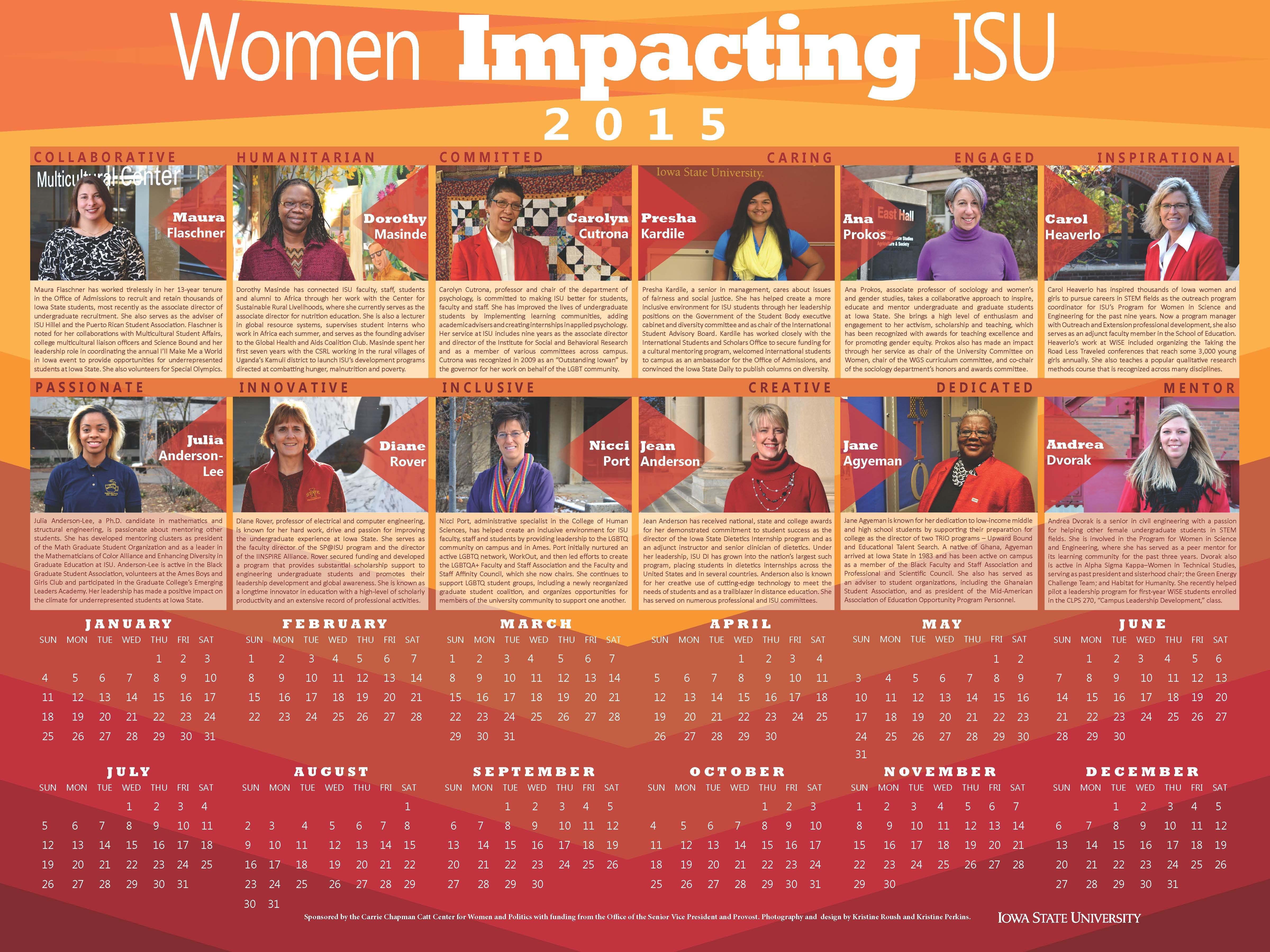 2015 Women Impacting ISU Calendar