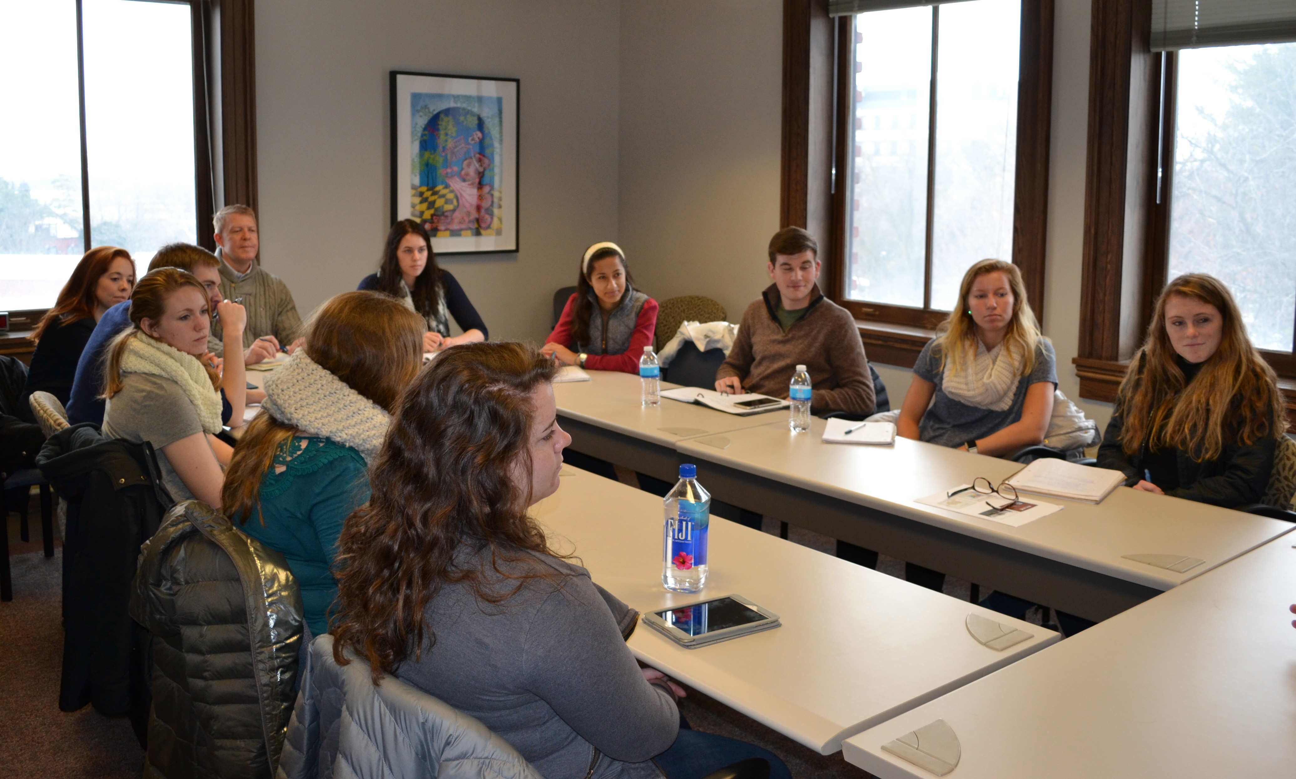 Students from Principia College visited with Dianne Bystrom on Jan. 6 in Catt Hall.