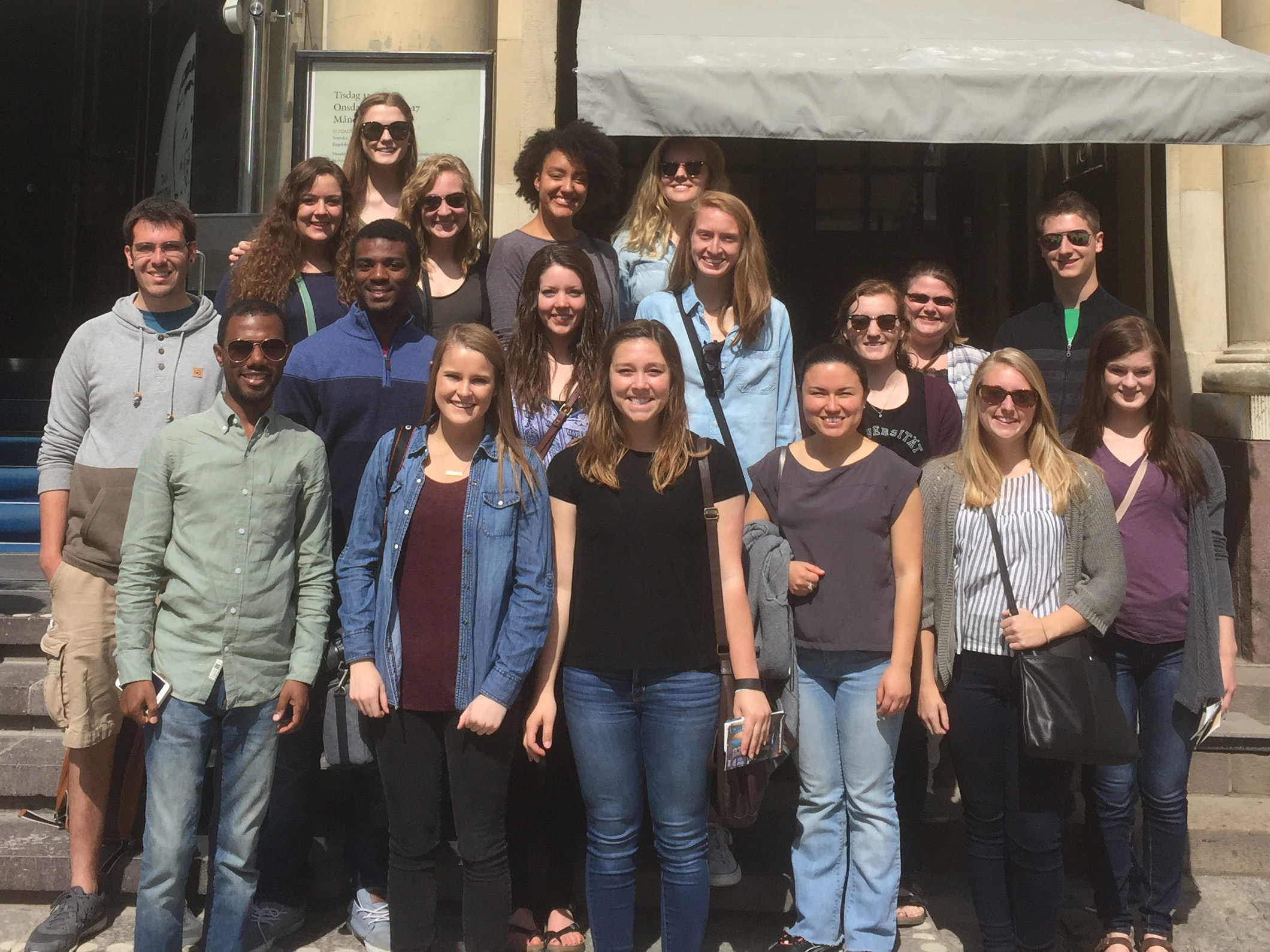 Beatty (front row left) poses with the students participating in the 2016 global study abroad program outside the Nobel Museum in Stockholm.