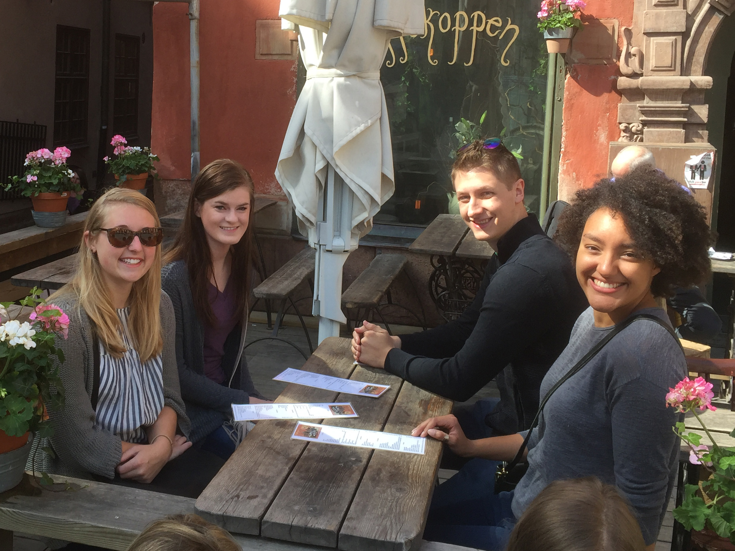 From left, Alyssa Hill, Anne Marie Greenwood, Taylor Mankle and Natasha Hill visit a restaurant in Stockholm.
