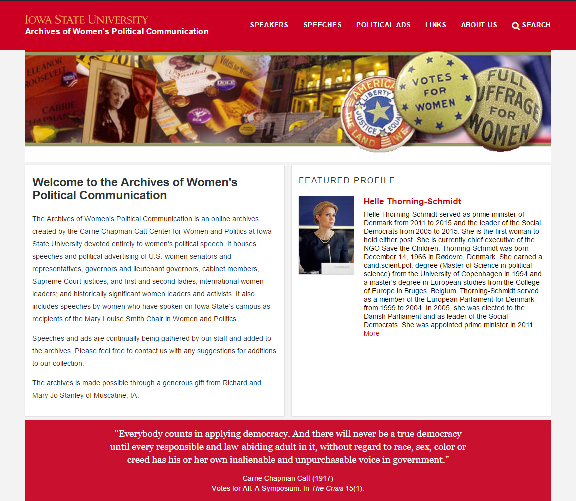 The Archives of Women's Political Communication new homepage: awpc.cattcenter.iastate.edu.