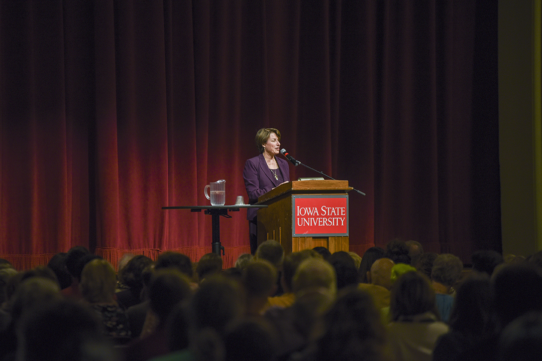 U.S. Sen. Amy Klobuchar of Minnesota visited Iowa State as the fall 2017 Mary Louise Smith Chair in Women and Politics.