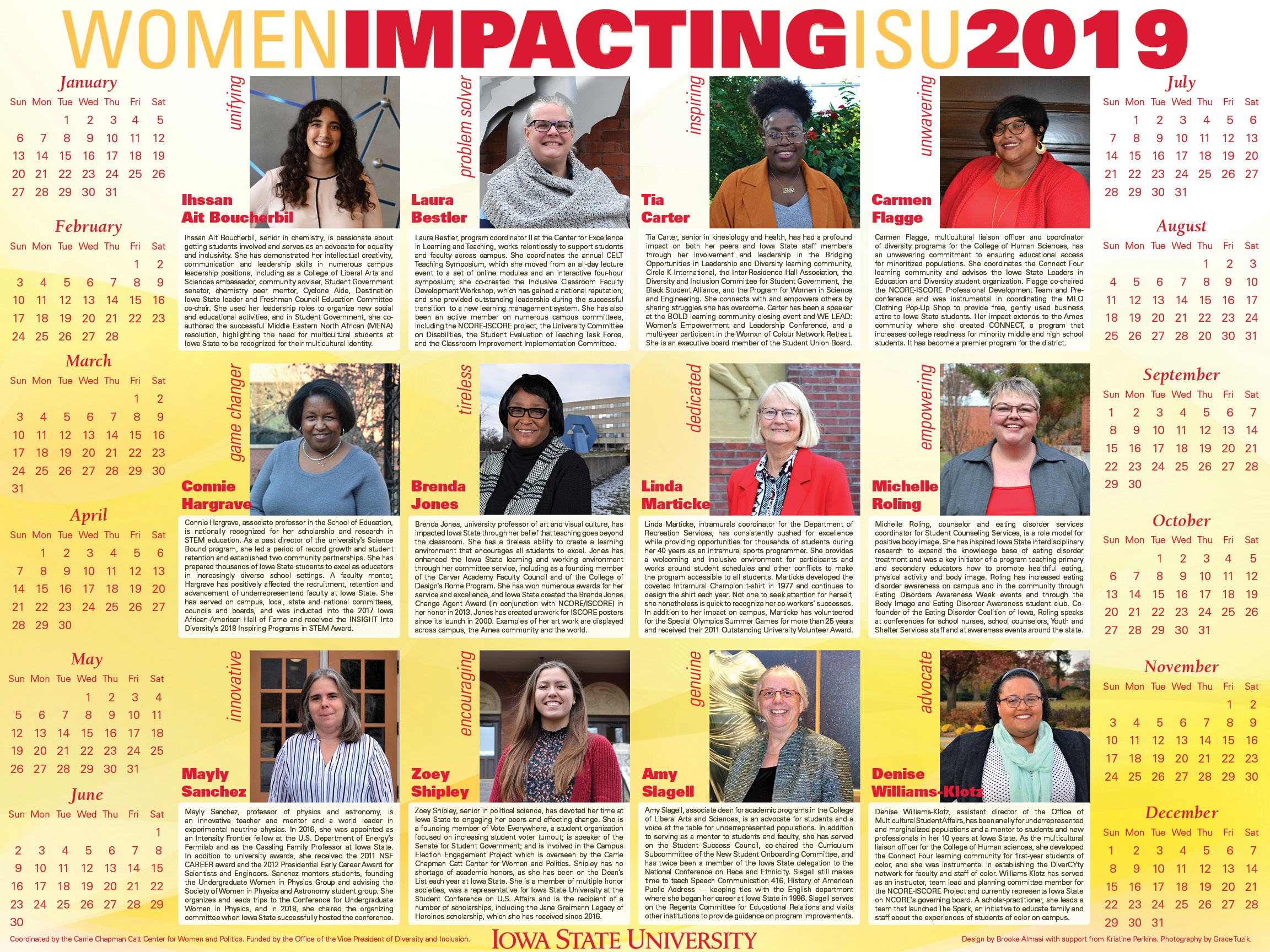 2019 Women Impacting ISU calendar