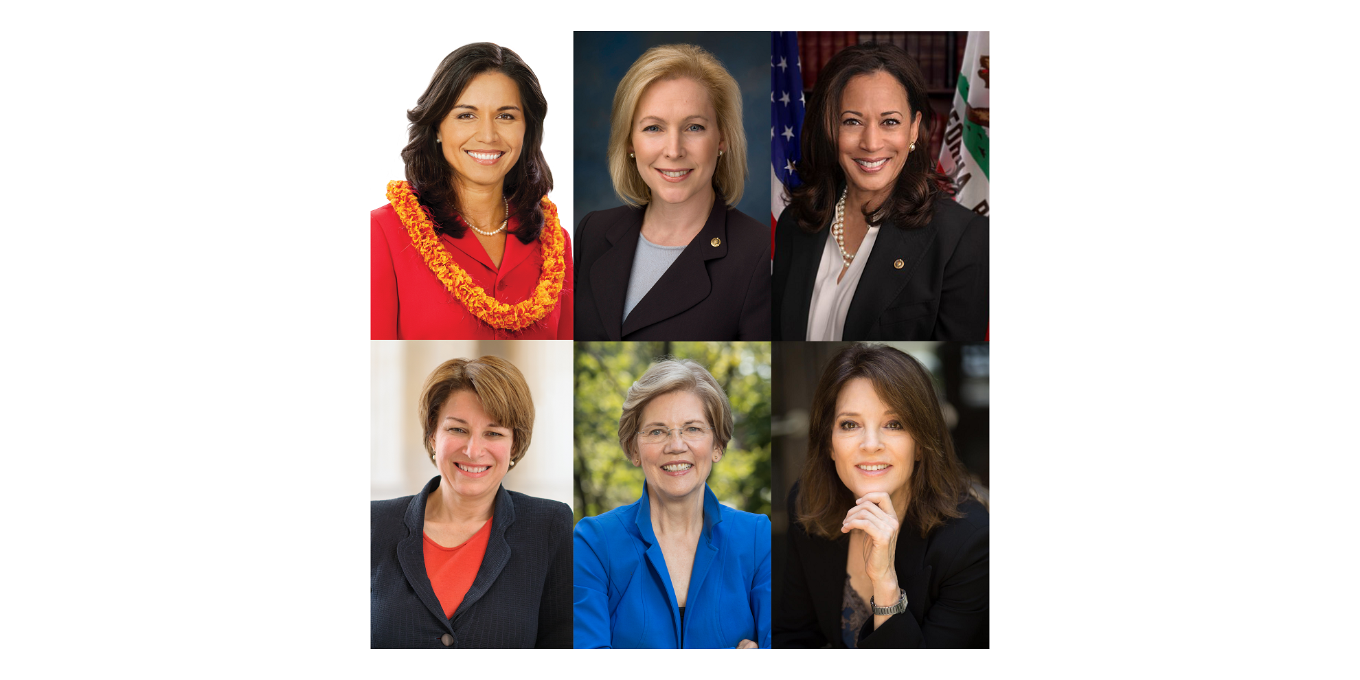 Top from left: Hawaii Rep. Tulsi Gabbard, New York Sen. Kirsten Gillibrand, California Sen. Kamala Harris. Bottom from left: Minnesota Sen. Amy Klobuchar, Massachusetts Sen. Elizabeth Warren, Marianne Williamson.