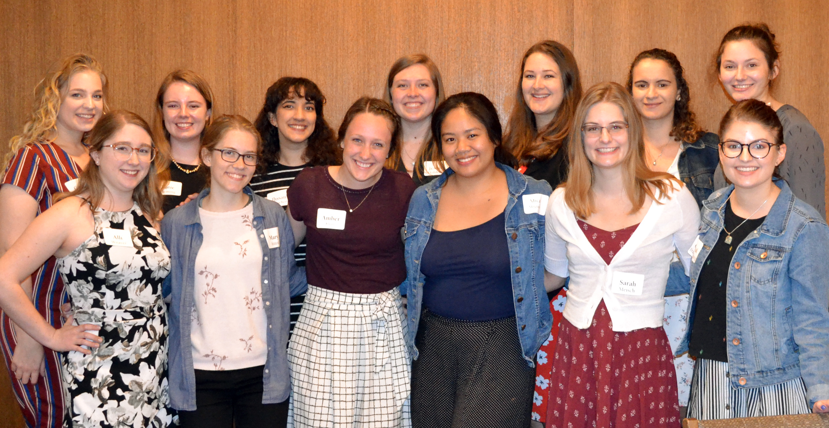 Students pose for a picture after the Year-End Dinner celebration.