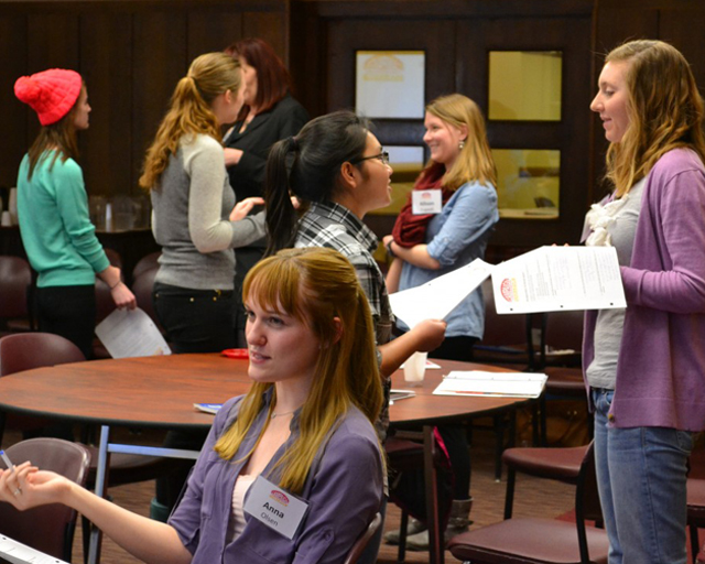Students practice their elevator speeches