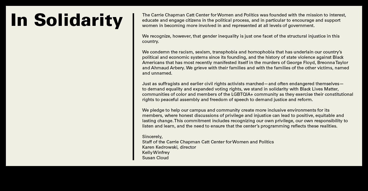 A message of solidarity from the Catt Center.