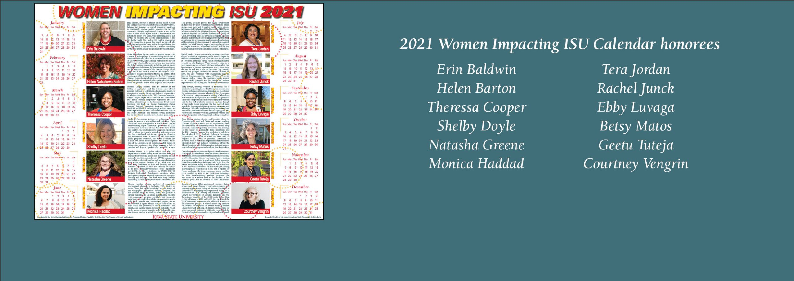 Congratulations to the 2021 Women Impacting ISU Calendar honorees!