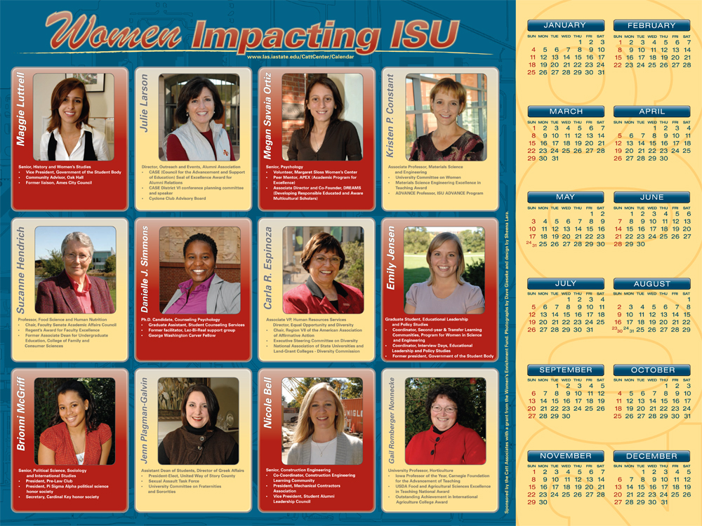 2009 Women Impacting ISU Calendar