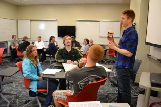 LAS 222 student Tyler Cain discusses how his group worked together during a class exercise.