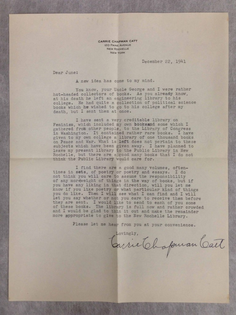 This letter from Catt to her niece Cora June Linn mentions a donation of books to Iowa Agricultural College (now Iowa State).