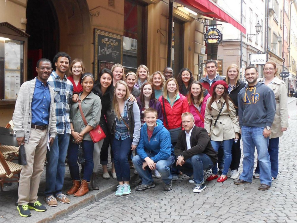 Students and faculty on the study abroad trip to Sweden