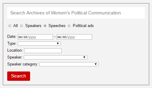 "The search box, with ""speeches"" selected for searching."