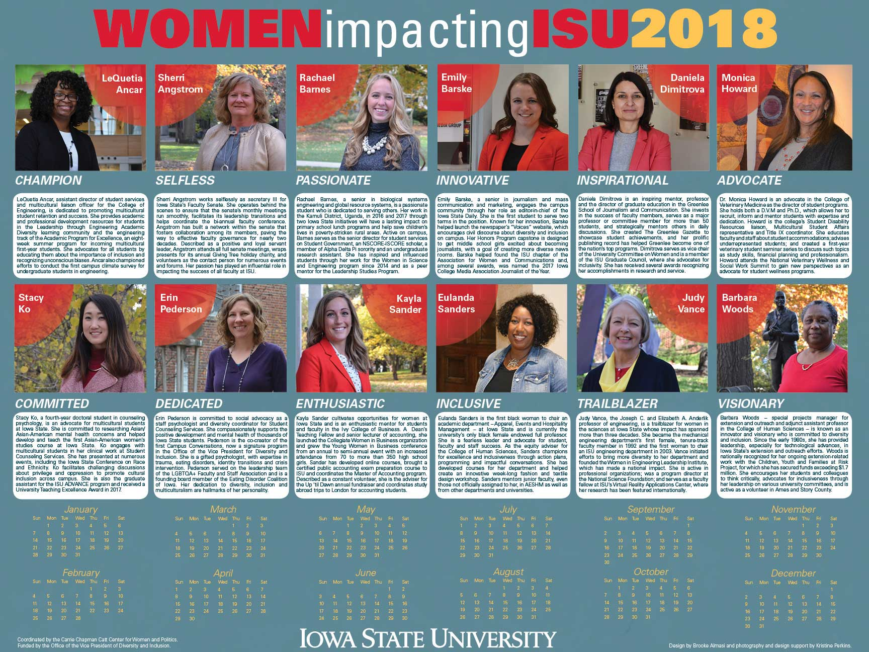2018 Women Impacting ISU calendar