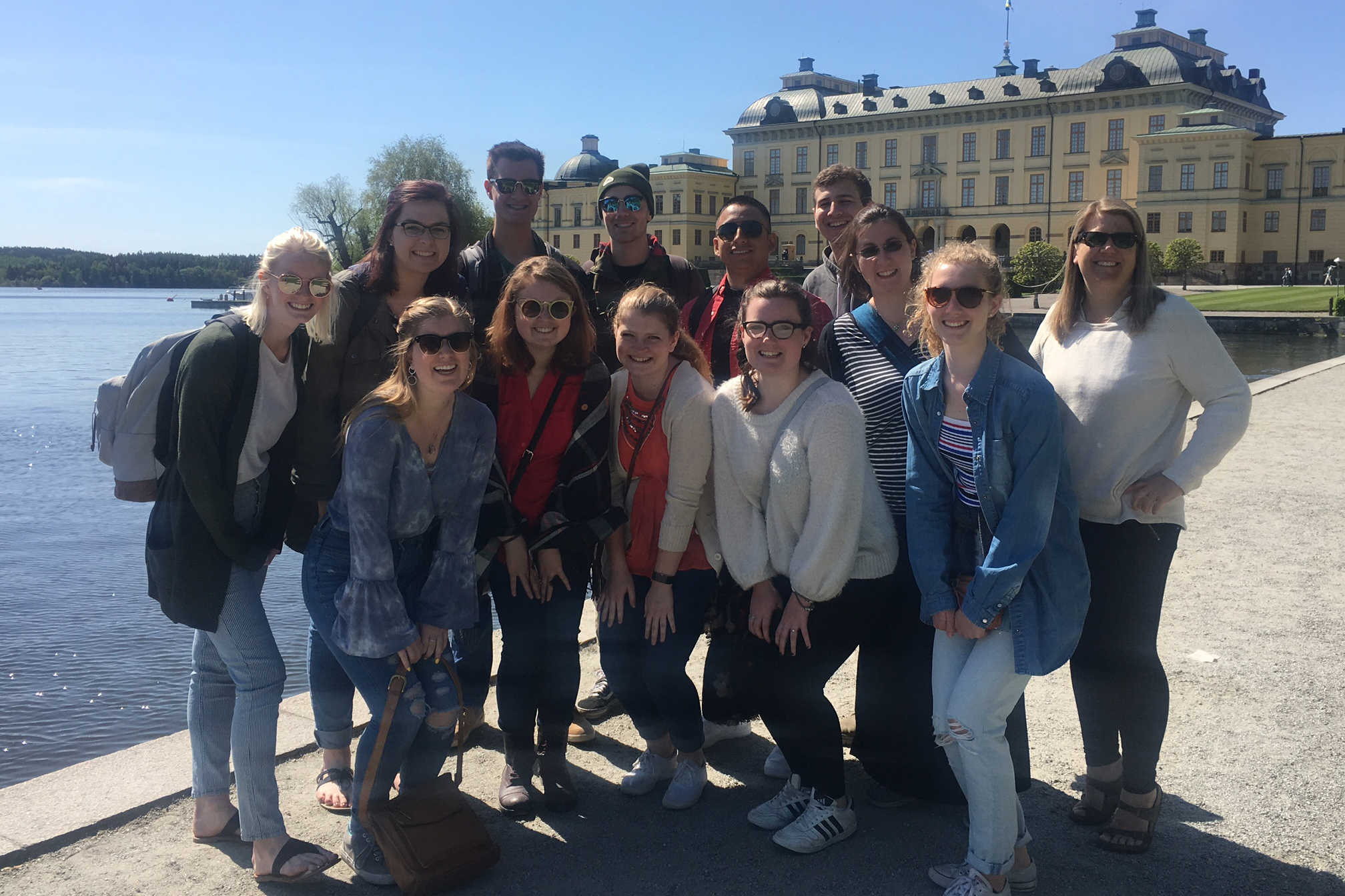 Widner (far right) and the students enjoyed a boat ride to Drottningholm Palace.
