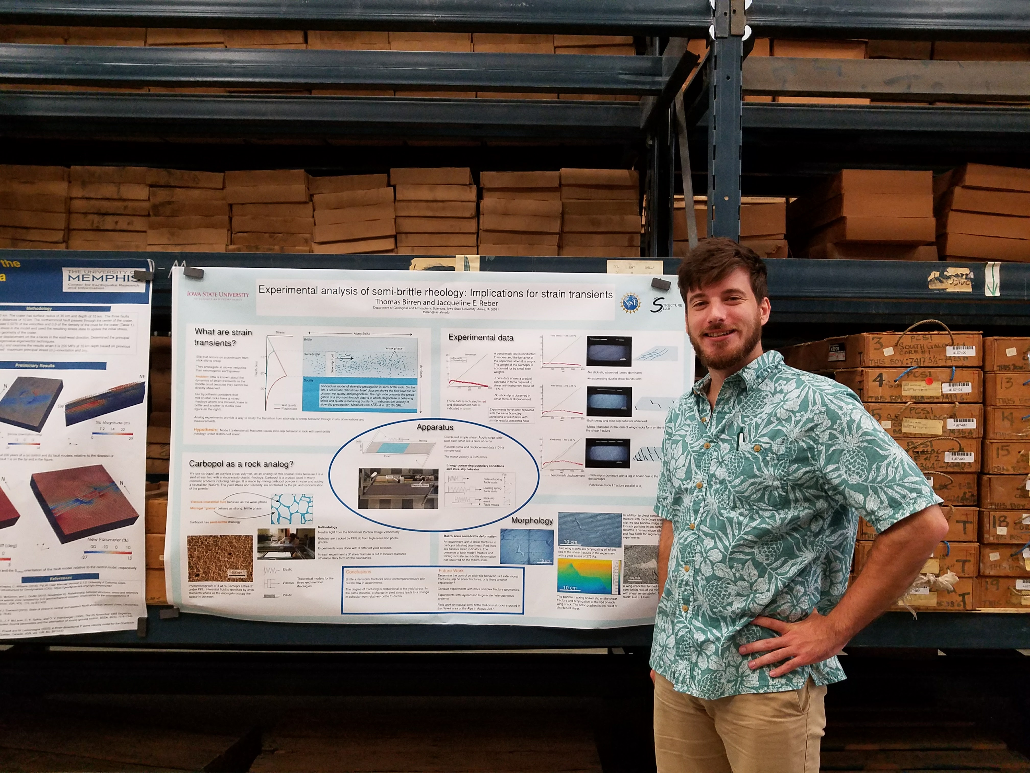 Tom with his poster on deformation of semi-brittle rocks/hair gel