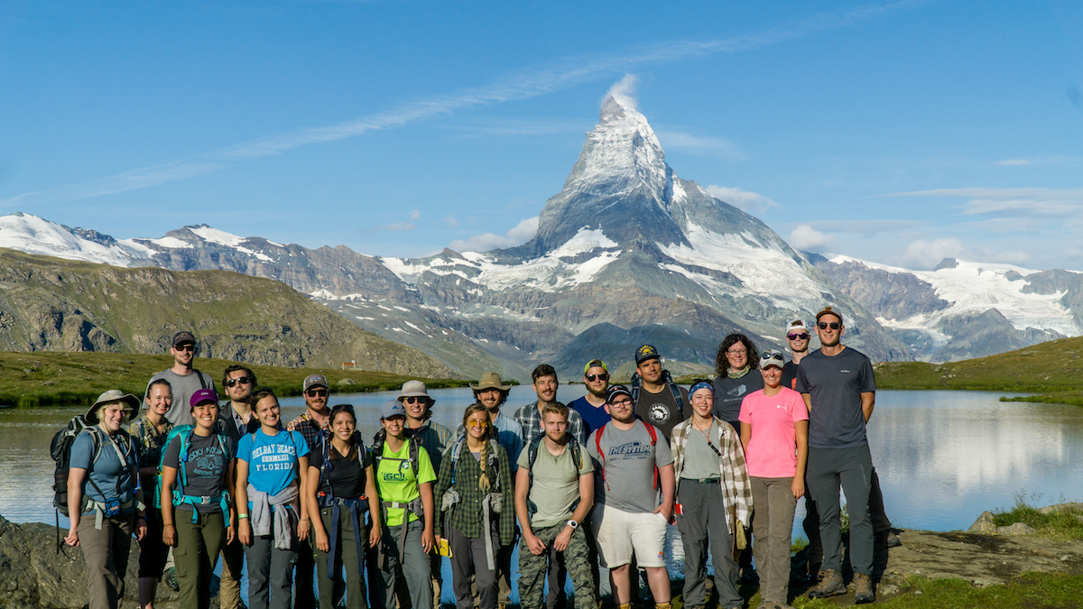 GEOL 306 students standing in front of the Matterhorn in the Swiss Alps.