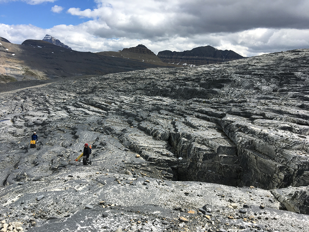 Researchers measure the topography of an exposed glacier bed at Castleguard Glacier in the Rocky Mountains of Alberta, Canada. (Photo by Keith Williams, contributed by Christian Helanow.)