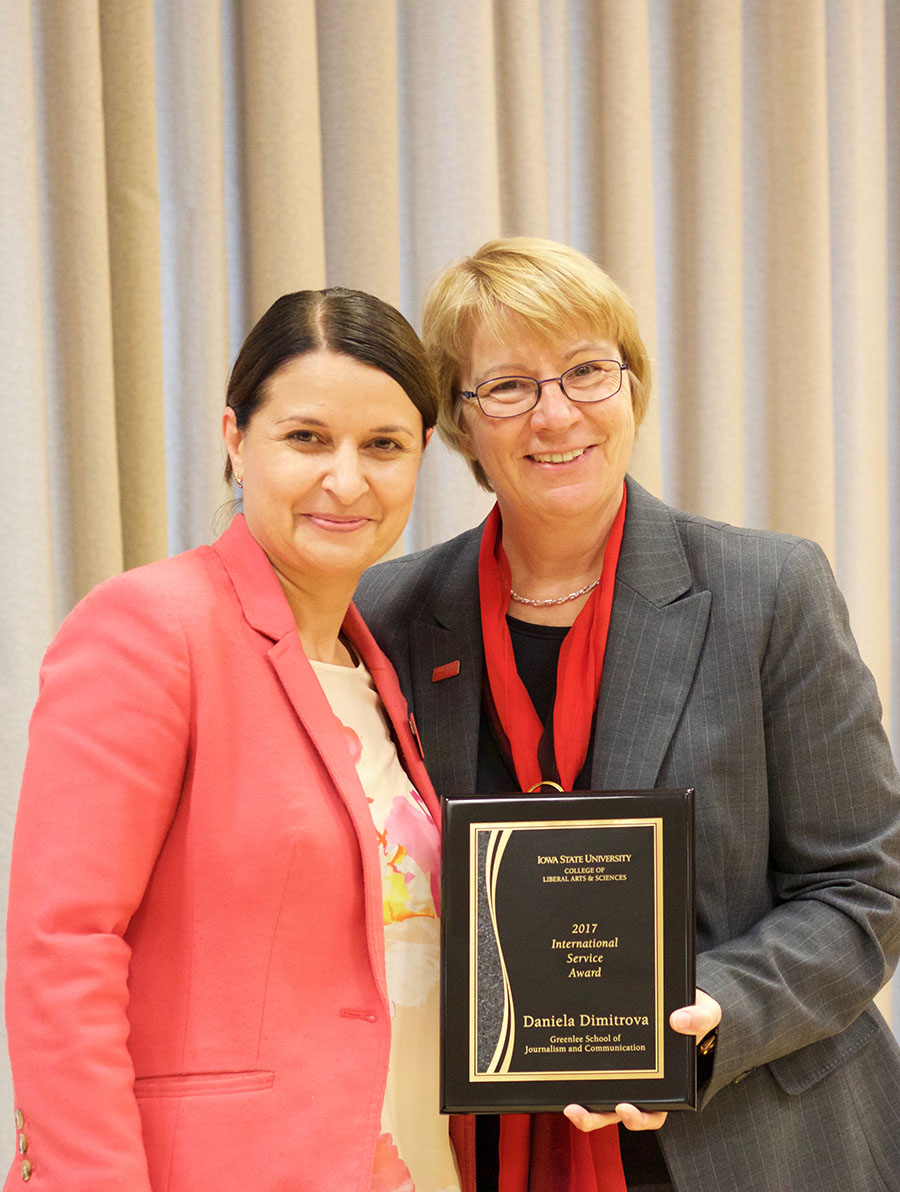 Daniela Dimitrova, professor and director of graduate education, and Beate Schmittmann, dean of the College of Liberal Arts and Sciences