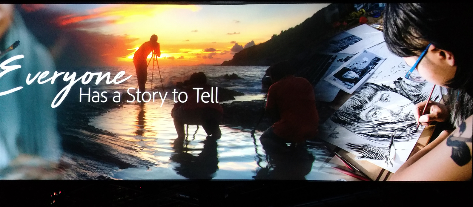 """Everyone has a story to tell"" graphic with a sunset, someone taking a photo and someone drawing"