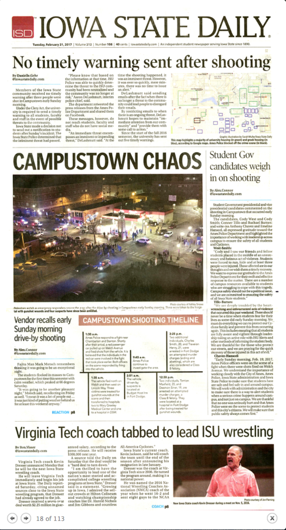 The Feb. 21, 2017, edition of the Iowa State Daily.