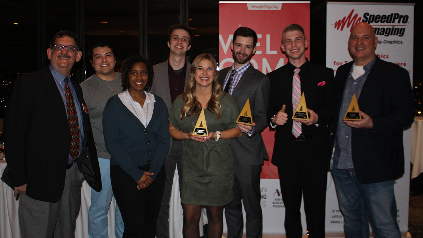 Students and faculty represented Greenlee at the 2018 Addys, left to right: Associate Professor Jay Newell, Alex Amoa, Jordyn Harrison, Austin Romanos, McClane Gill, Lucas Brandt, Alex Beach, Lecturer Michael Wigton. Photo courtesy of Michael Wigton