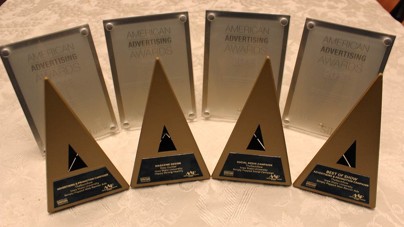 Iowa State University students and recent grads took home three gold awards, four silver awards and Best of Show honors from the 2018 American Advertising Awards, presented by the Des Moines chapter of the American Advertising Federation. Photo courtesy of Michael Wigton
