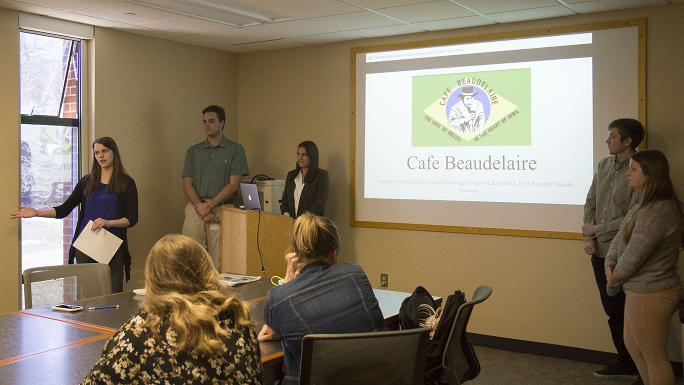 Students in the Public Relations Campaigns class worked with Café Beaudelaire on a campaign for Iowa