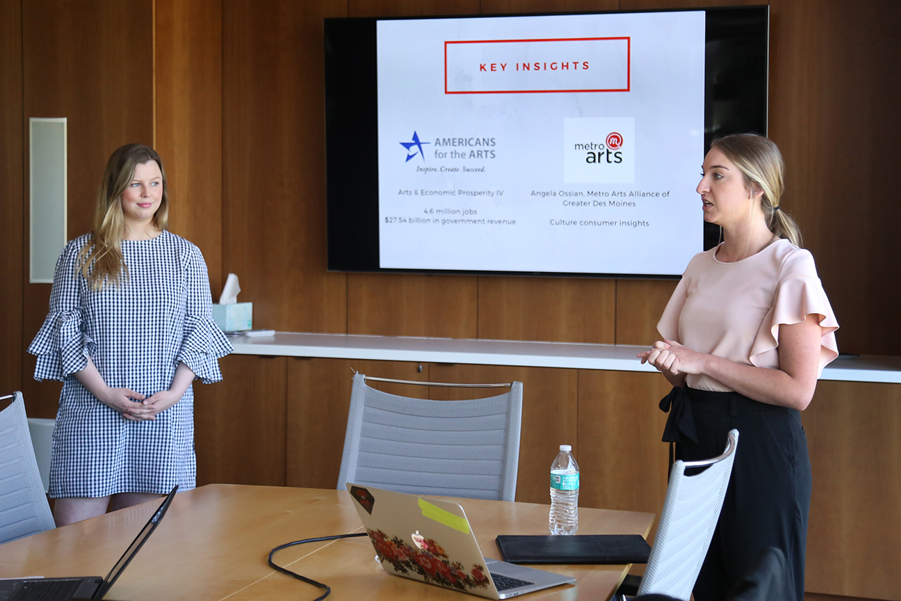 Ashley Kirkpatrick (left) and Lindsey Moor rehearsed their presentation in front of representatives at Flynn Wright in Des Moines in May.