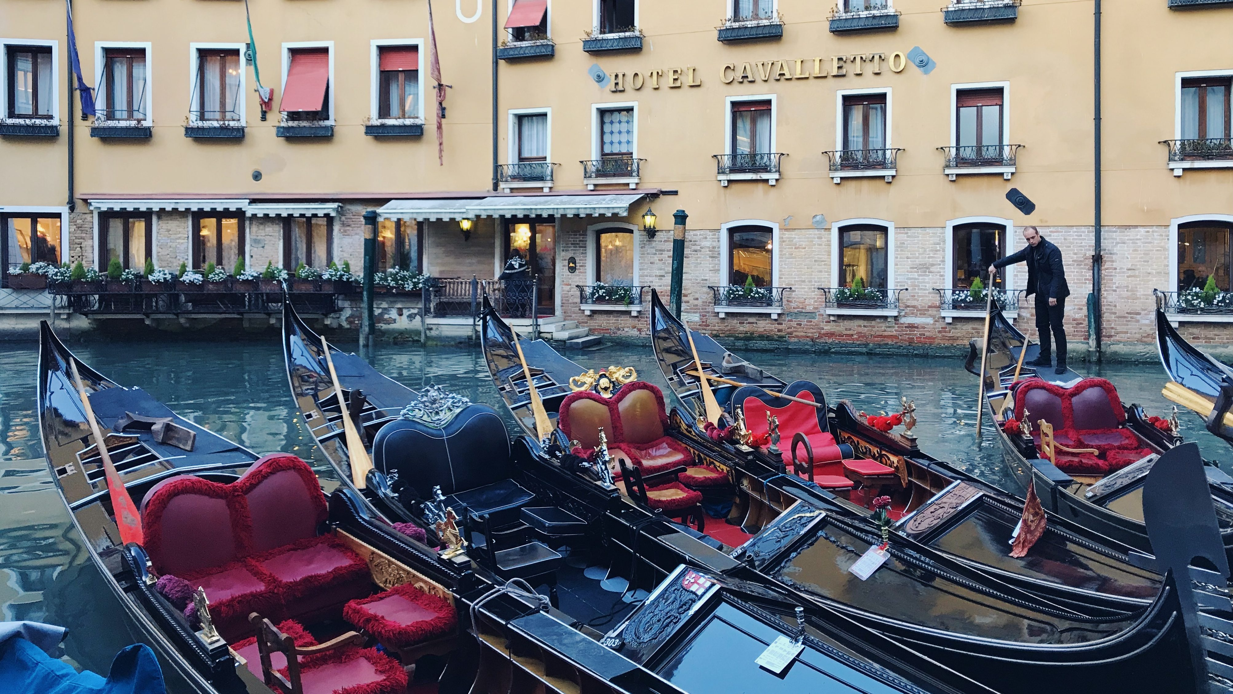 The famous gondolas of Venice, waiting to be taken out for a tour. Photo by Rachel Cessna
