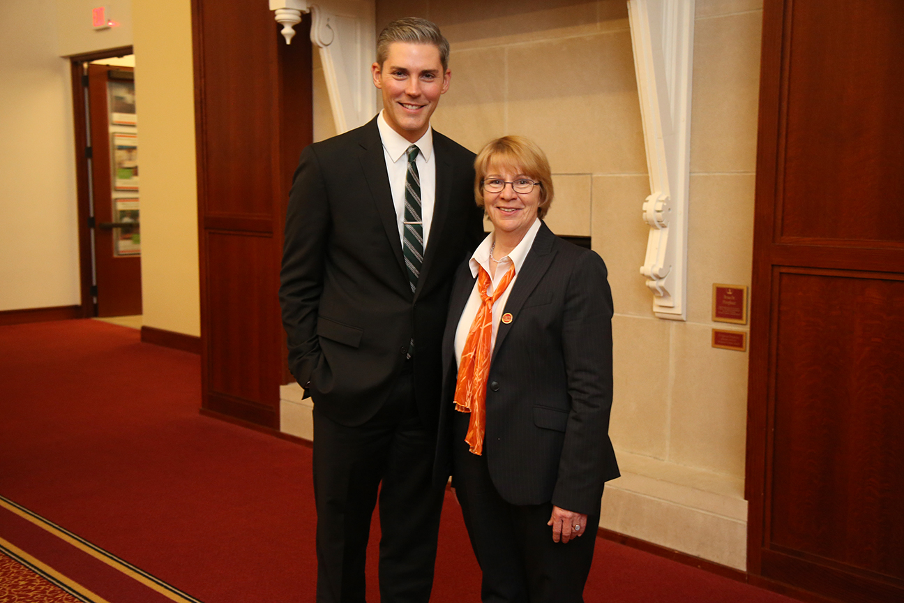 Dan Winters, 2018 LAS Young Alumnus Award recipient, and Dean Beate Schmittmann