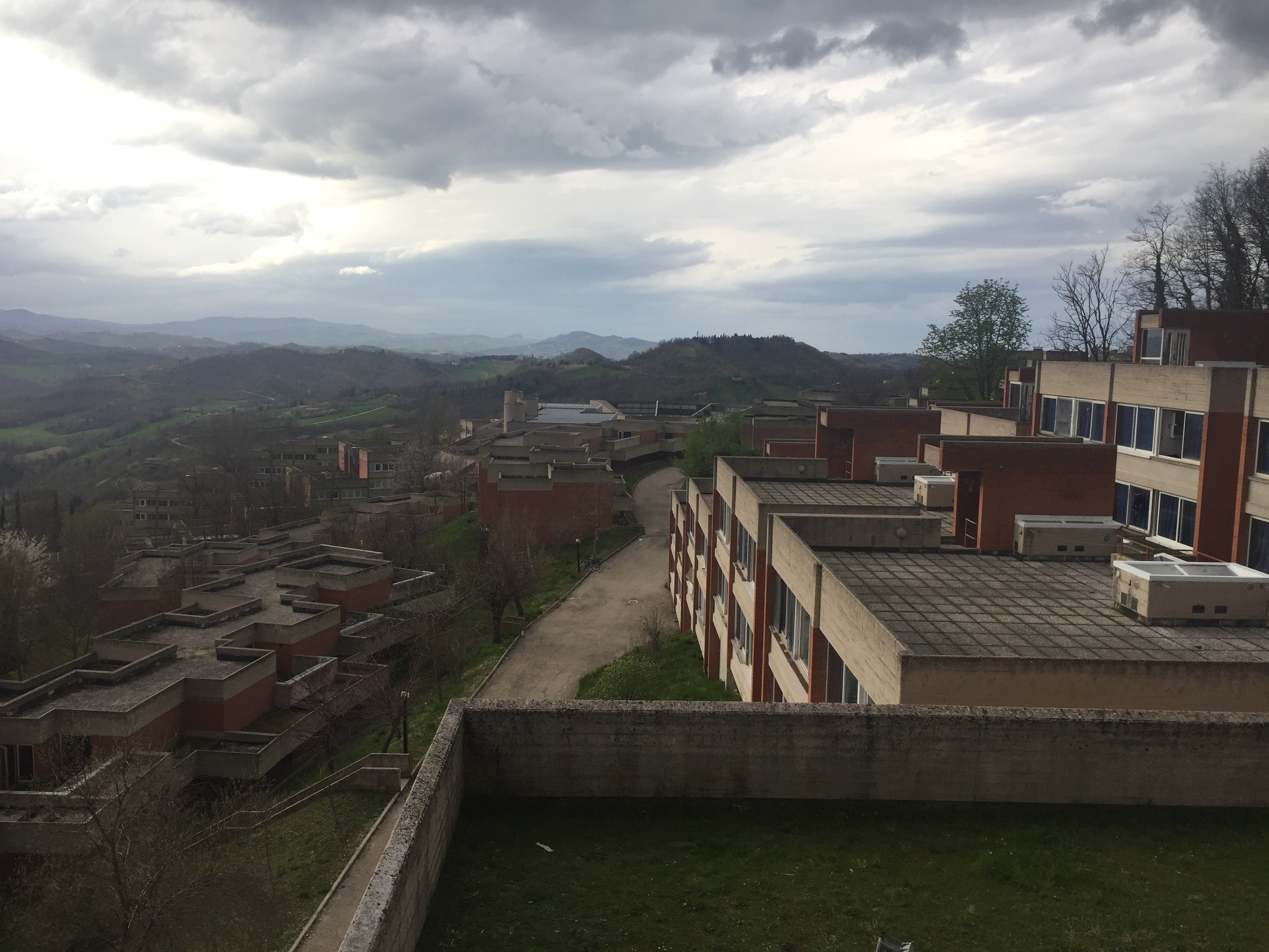 This view from the roof of Aquilone shows the main path students take to Tridente to eat at the mensa. Photo by Bridget Hepworth