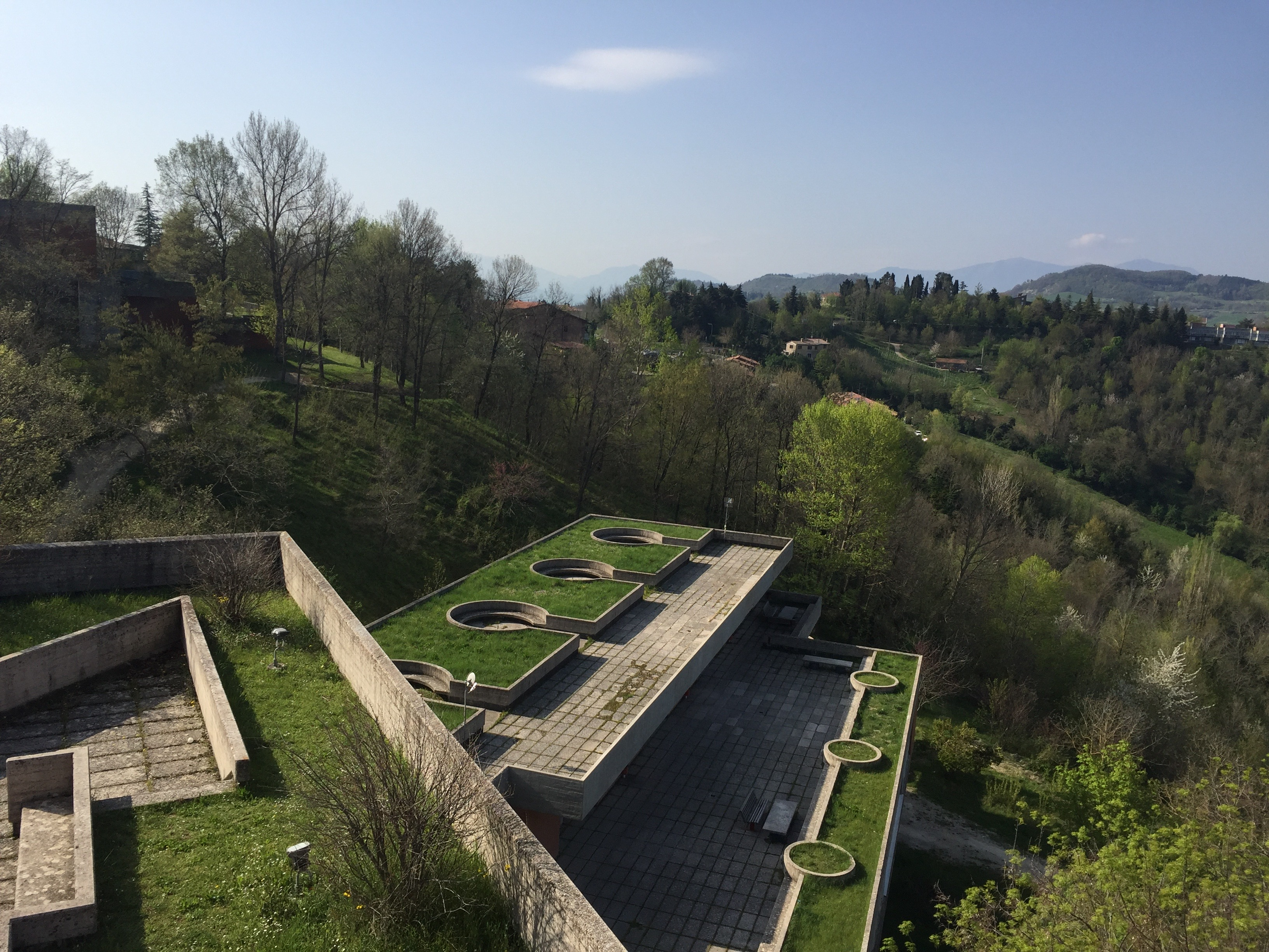 From the top of Aquilone, you can see the beautiful round rooftop gardens. Photo by Bridget Hepworth