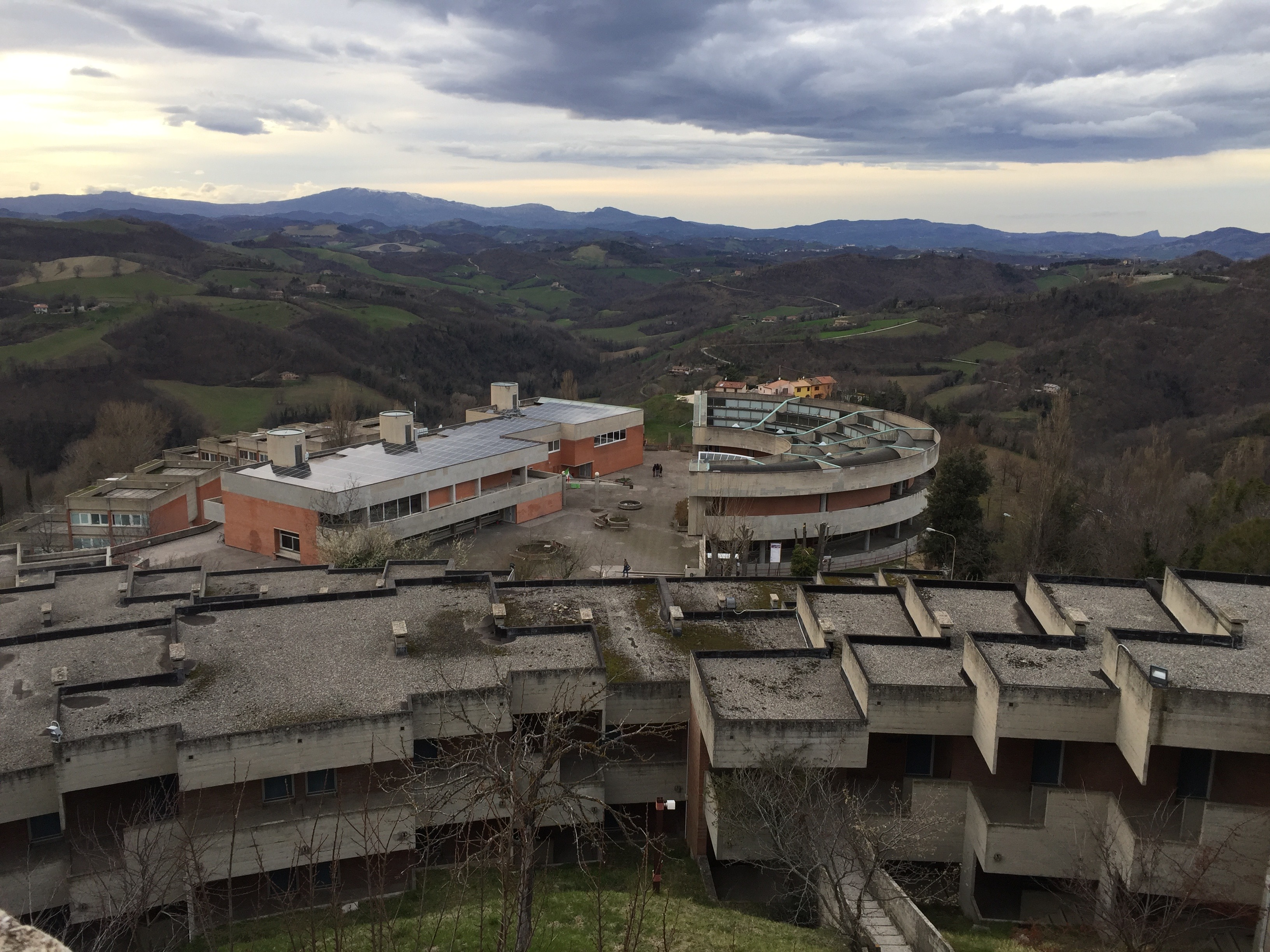 The view from Il Colle demonstrates the dorms merging into the landscape. Photo by Bridget Hepworth