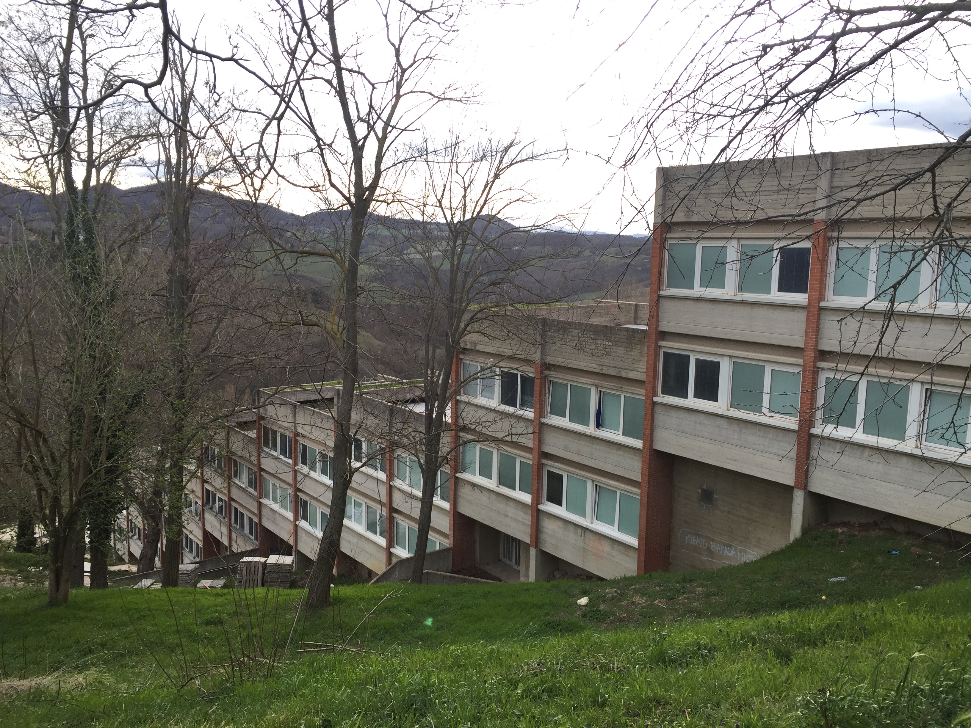 The zigzag-like structure of the Tridente dorms descends down the hillside. Photo by Bridget Hepworth