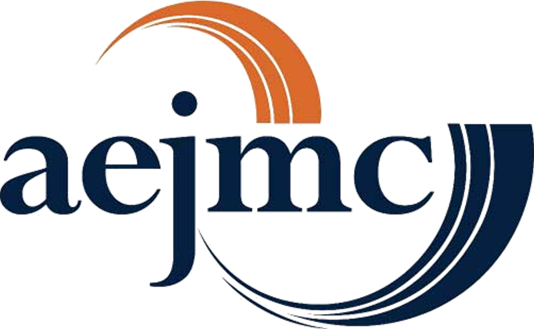 AEJMC logo, orange and navy blue