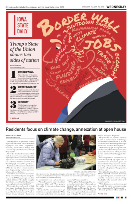 newspaper front page with head made up of words reading border wall and jobs