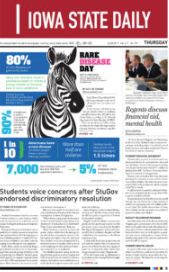photo of newspaper front page with illustration of a zebra