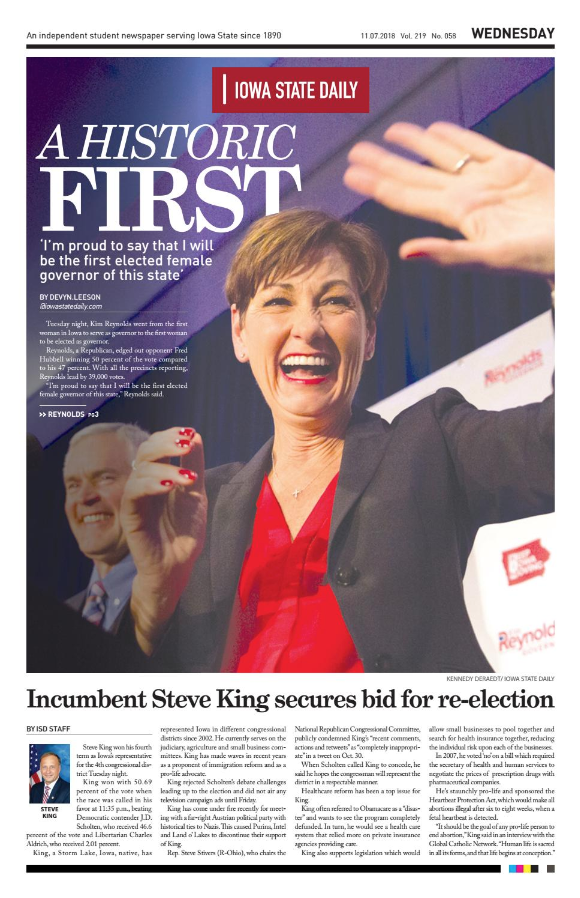 newspaper front page with picture of woman smiling and waving