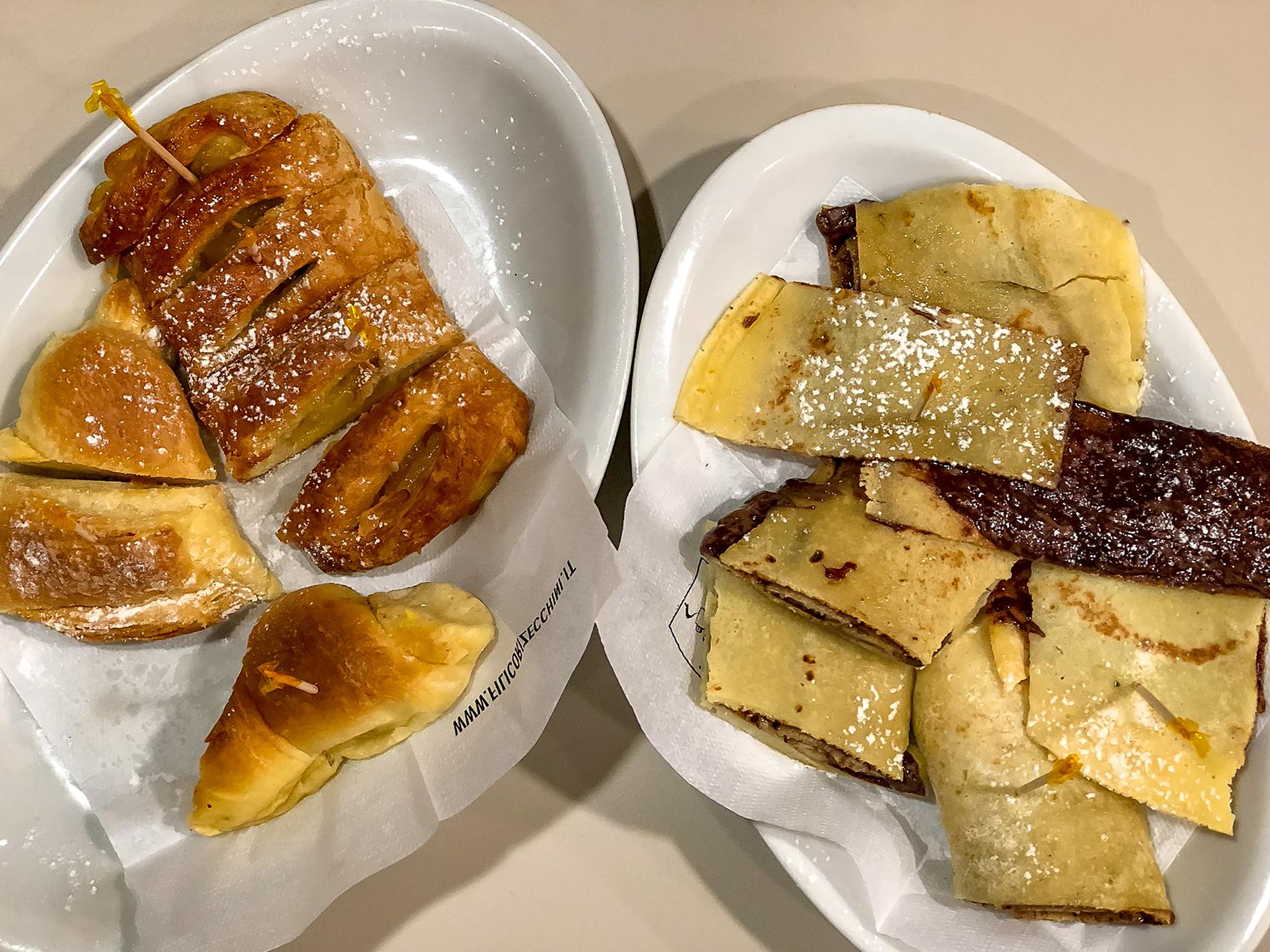Desserts on white plates