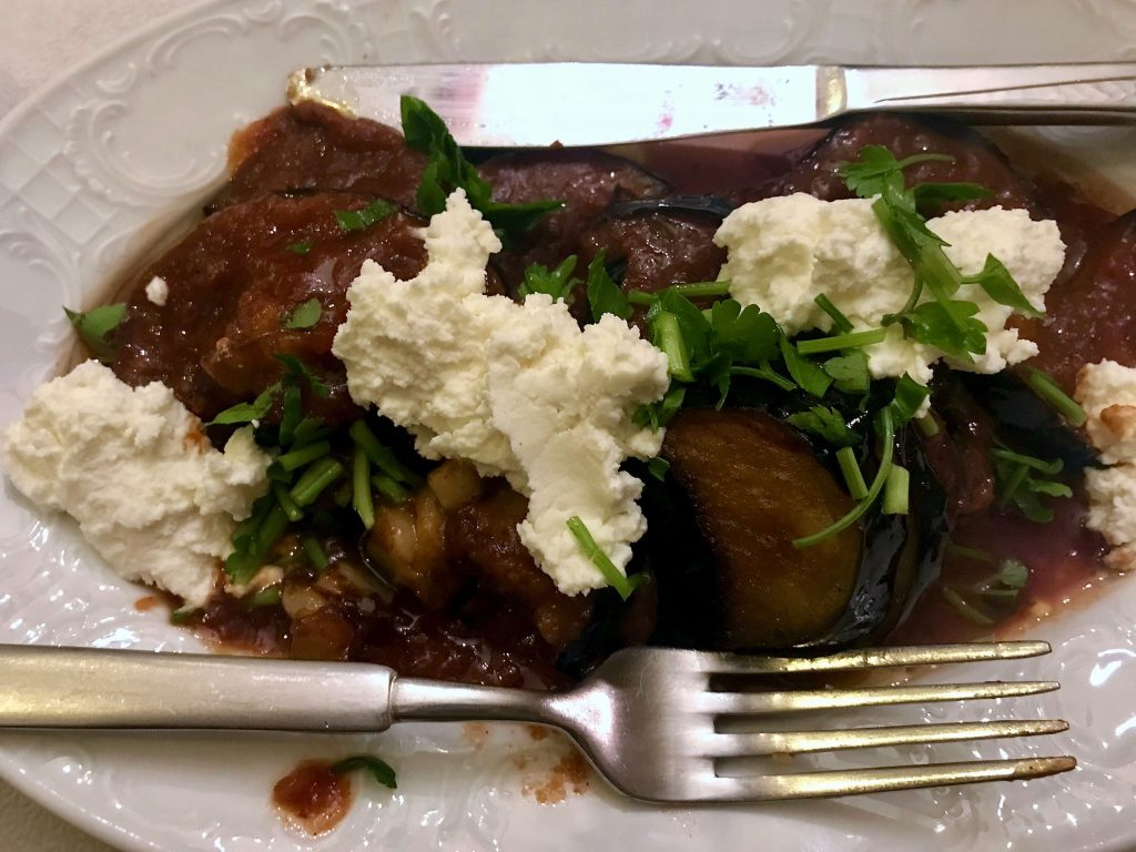 Eggplant with fork