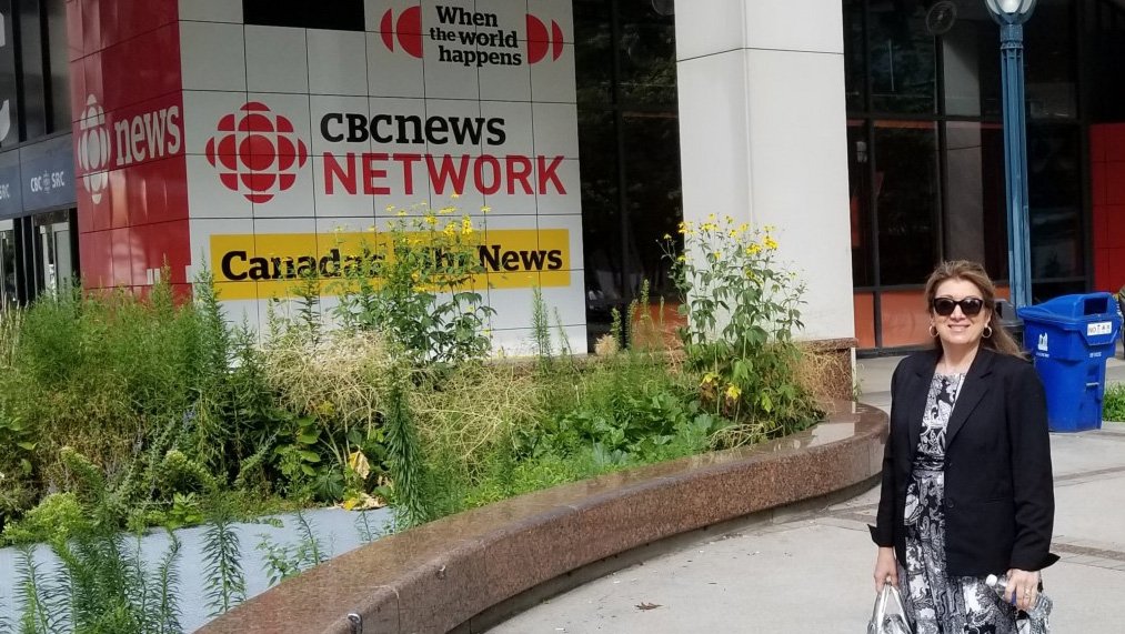 Grace Provenzano in front of CBC Toronto