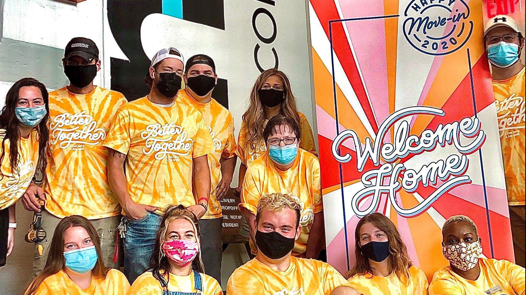 Dakota Trenkamp and fellow interns with face coverings